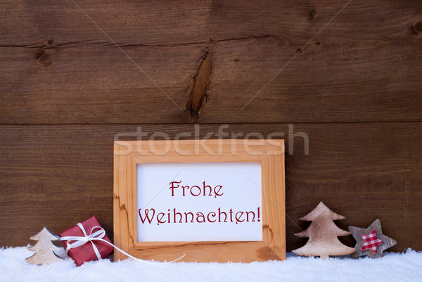 Frame With Snow, Frohe Weihnachten Mean Merry Christmas Stock photo © Nelosa
