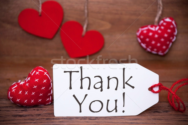 One Label With Romantic Hearts Decoration, Text Thank  You Stock photo © Nelosa
