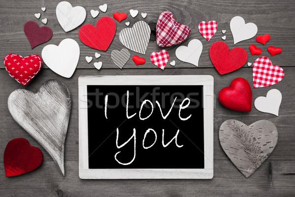 Black And White Chalkbord, Red Hearts, I Love You Stock photo © Nelosa