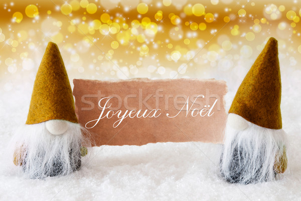 Golden Gnomes With Card, Joyeux Noel Means Merry Christmas Stock photo © Nelosa