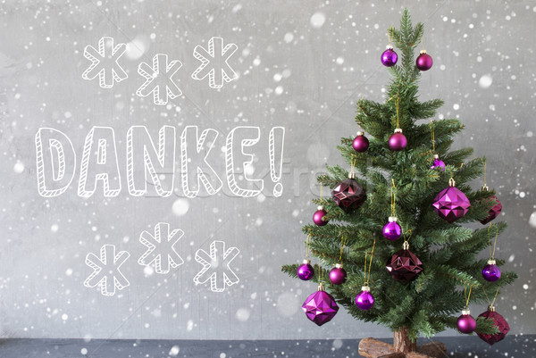 Christmas Tree, Snowflakes, Cement Wall, Danke Means Thank You Stock photo © Nelosa