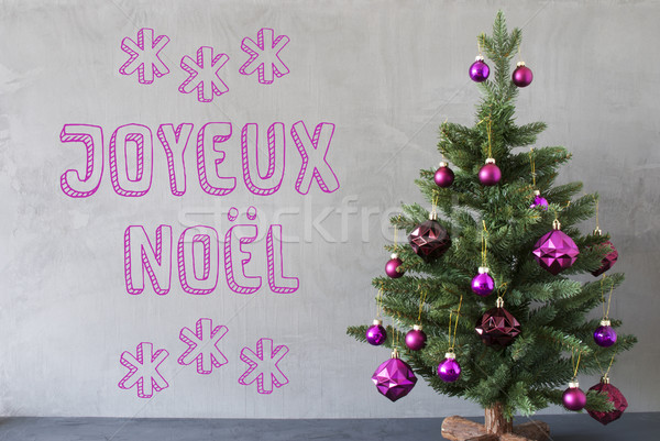 Tree, Cement Wall, Text Joyeux Noel Means Merry Christmas Stock photo © Nelosa