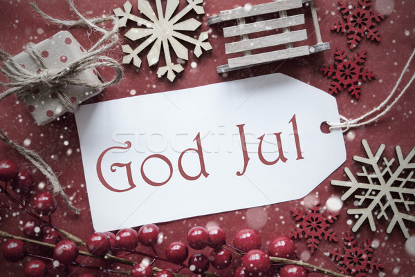 Nostalgic Decoration, Label With God Jul Means Merry Christmas Stock photo © Nelosa