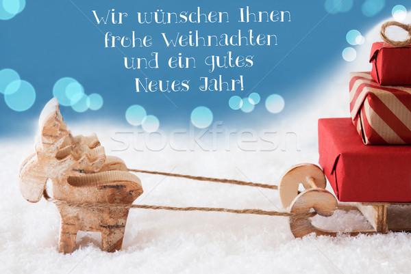 Rena luz azul ano novo texto alegre natal Foto stock © Nelosa
