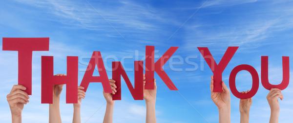 Pessoas obrigado céu muitos palavra Foto stock © Nelosa