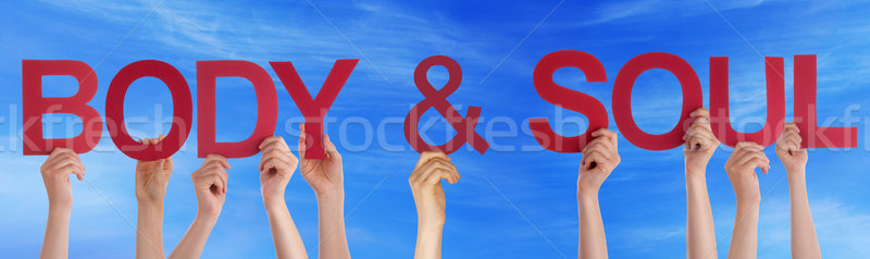 Hands Holding Red Straight Word Body Soul Blue Sky Stock photo © Nelosa