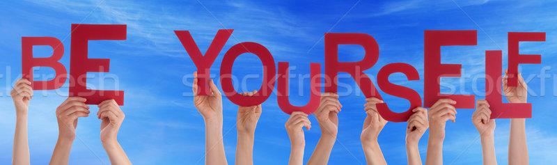 Insanlar eller kırmızı kelime kendiniz Stok fotoğraf © Nelosa