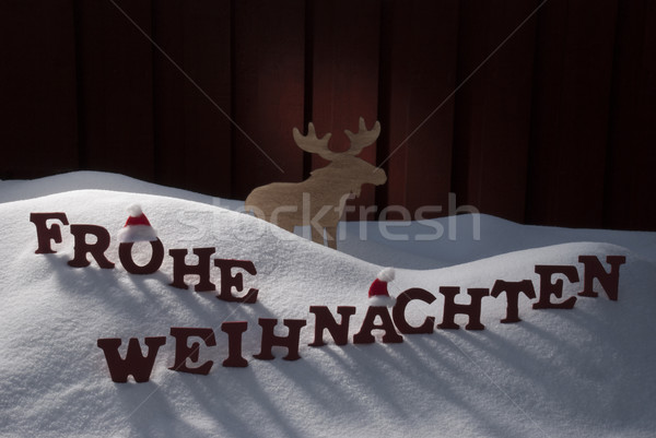 Frohe Weihnachten Means Merry Christmas Moose Snow Stock photo © Nelosa
