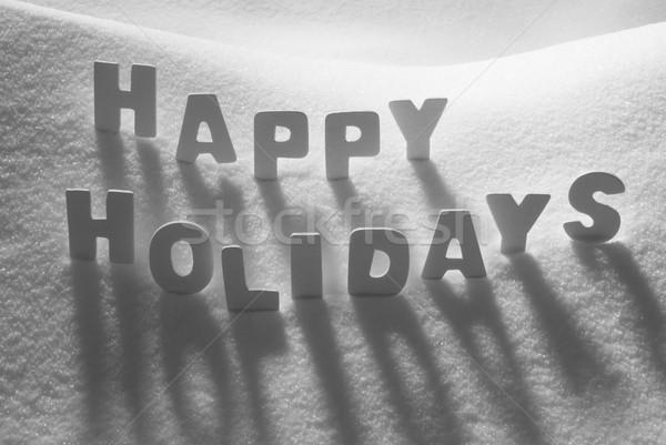 White Word Happy Holidays On Snow Stock photo © Nelosa