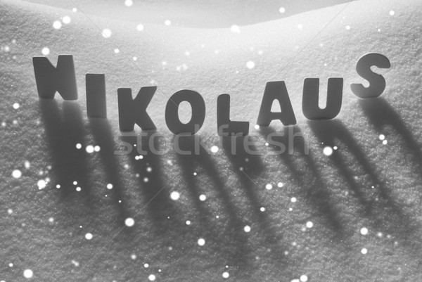 White Word Nikolaus Means St Nicholas On Snow, Snowflakes Stock photo © Nelosa