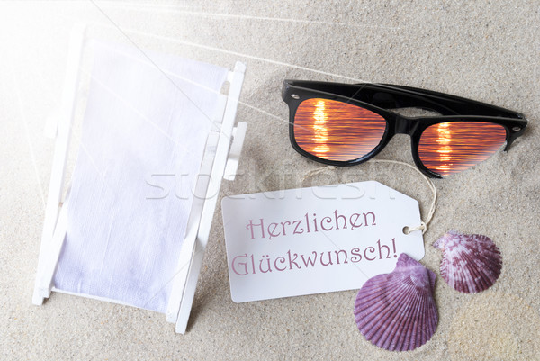 Sunny Flat Lay Summer Label Glueckwunsch Means Congratulations Stock photo © Nelosa