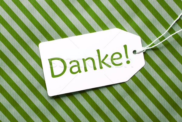 Label On Green Wrapping Paper, Danke Means Thank You Stock photo © Nelosa