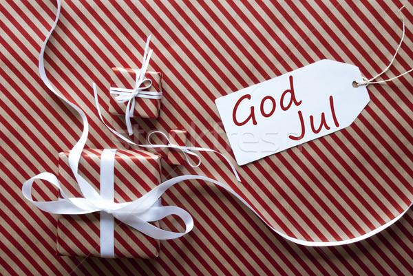 Deux cadeaux étiquette dieu joyeux Noël Photo stock © Nelosa