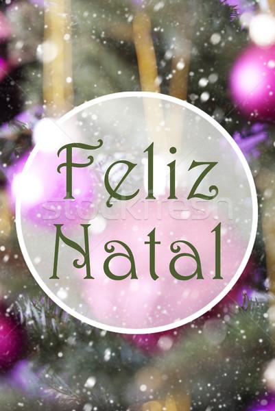 Vertical Rose Quartz Balls, Feliz Natal Means Merry Christmas Stock photo © Nelosa