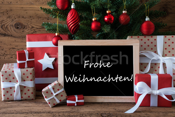Colorful Tree, Frohe Weihnachten Means Merry Christmas Stock photo © Nelosa