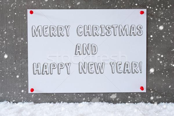 ラベル セメント 壁 雪 陽気な クリスマス ストックフォト © Nelosa