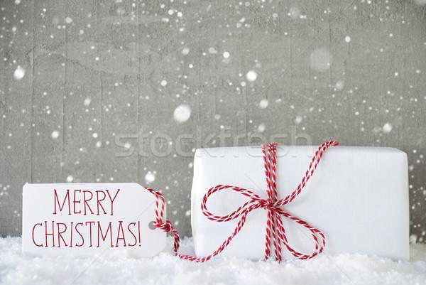 Regalo cemento fiocchi di neve testo allegro Natale Foto d'archivio © Nelosa