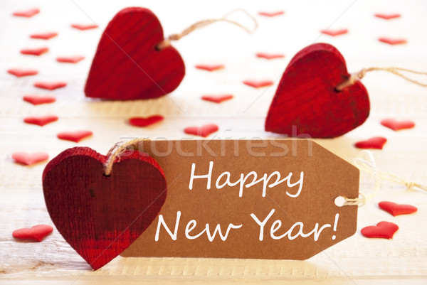 Label With Many Red Heart, Text Happy New Year Stock photo © Nelosa