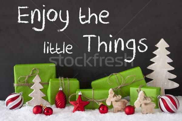 Christmas Decoration, Cement, Snow, Quote Enjoy The Little Things Stock photo © Nelosa