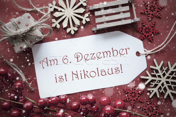Nostalgic Christmas Decoration, Label With Nikolaus Means Nicholas Day Stock photo © Nelosa