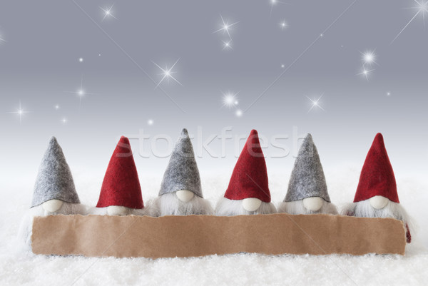 Gnomes, Silver Background, Stars, Copy Space Stock photo © Nelosa