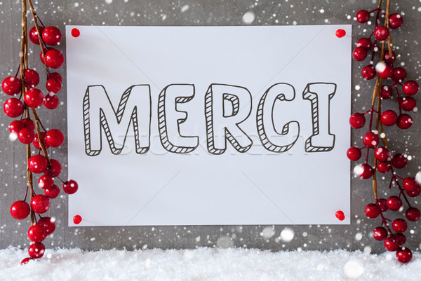 Label, Snowflakes, Christmas Decoration, Merci Means Thank You Stock photo © Nelosa
