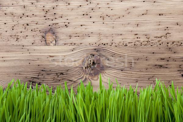 Bright Wooden Background, Gras, Copy Space Stock photo © Nelosa