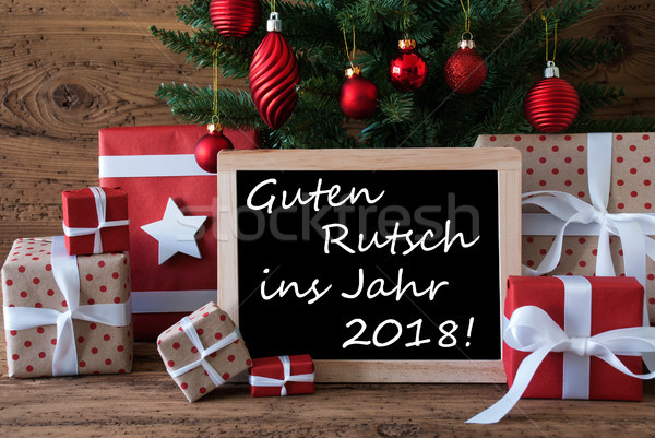Stock photo: Colorful Christmas Tree, Guten Rutsch 2018 Means Happy New Year