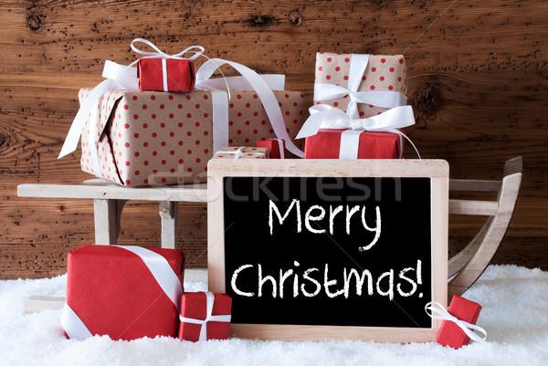 Stockfoto: Slee · geschenken · sneeuw · tekst · vrolijk · christmas