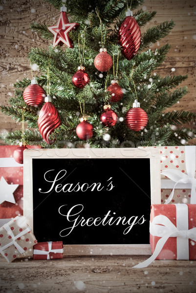 Nostalgic Christmas Tree With Seasons Greetings Stock photo © Nelosa