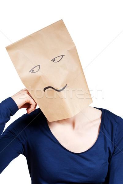 Nudzić osoby torby papierowe głowie nuda odizolowany Zdjęcia stock © Nelosa