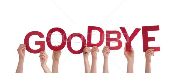 Kezek tart viszlát sok piros szó Stock fotó © Nelosa