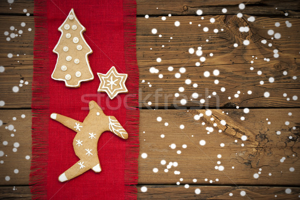 Ginger Bread Background with Snow Stock photo © Nelosa