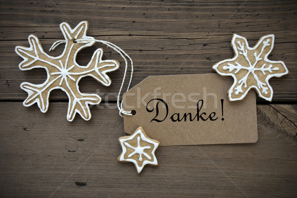 Danke Banner with Ginger Bread Snowflakes Stock photo © Nelosa