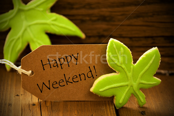 Brown Organic Label With English Text Happy Weekend Stock photo © Nelosa