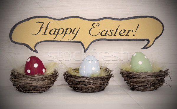 Reflektor három színes húsvéti tojások képregény szöveglufi Stock fotó © Nelosa