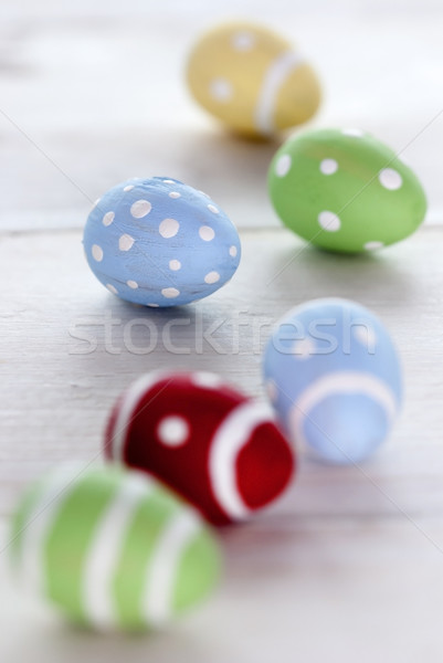 Close Up Of Six Colorful Easter Eggs Stock photo © Nelosa