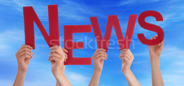 Many People Hands Holding Red Word News Blue Sky Stock photo © Nelosa