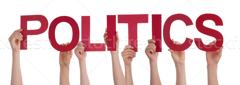 People Hands Holding Red Straight Word Politics  Stock photo © Nelosa