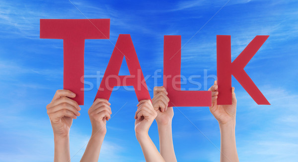 Hands Holding Red Straight Word Talk Blue Sky Stock photo © Nelosa
