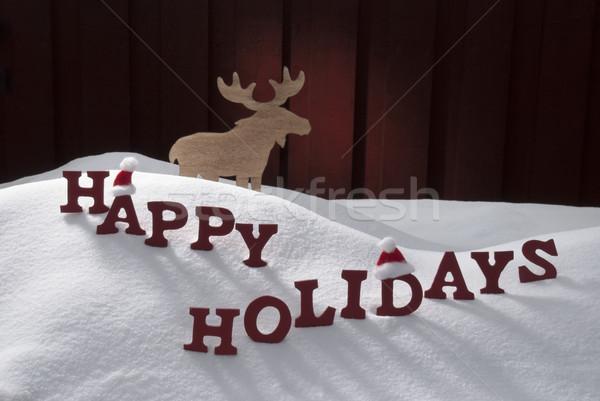 Gelukkig vakantie sneeuw eland hoed Stockfoto © Nelosa
