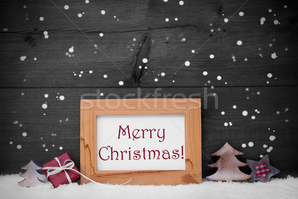 Gray Frame With Merry Christmas, Snow And Snowflakes Stock photo © Nelosa