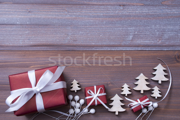 Red Christmas Gifts, Presents, White Ribbon, Tree, Copy Space Stock photo © Nelosa