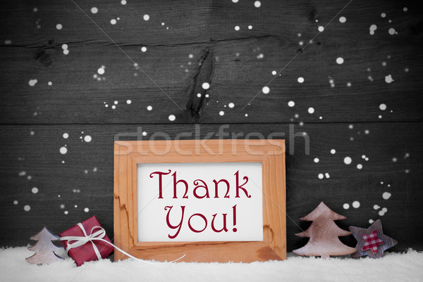 Gray Frame With Christmas Decoration, Thank You, Snowflakes Stock photo © Nelosa