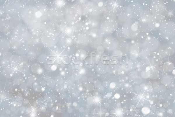 Gray Christmas Background With Snwoflakes, Bokeh And Stars, Blue Color Stock photo © Nelosa