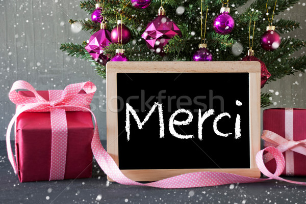 Tree With Gifts, Snowflakes, Merci Means Thank You Stock photo © Nelosa