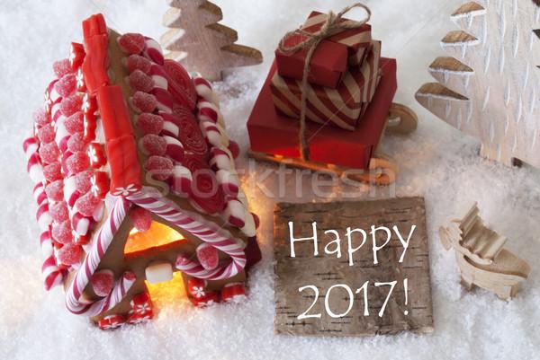 Gingerbread House, Sled, Snow, Text Happy 2017 Foto d'archivio © Nelosa
