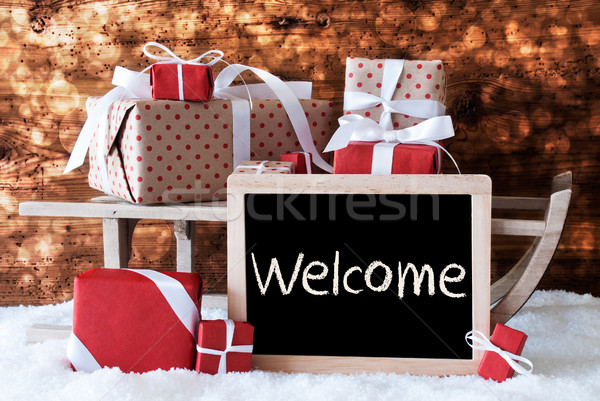 Sleigh With Gifts, Snow, Bokeh, Text Welcome Stock photo © Nelosa
