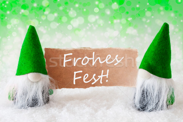 Green Natural Gnomes With Card, Frohes Fest Means Merry Christmas Stock photo © Nelosa