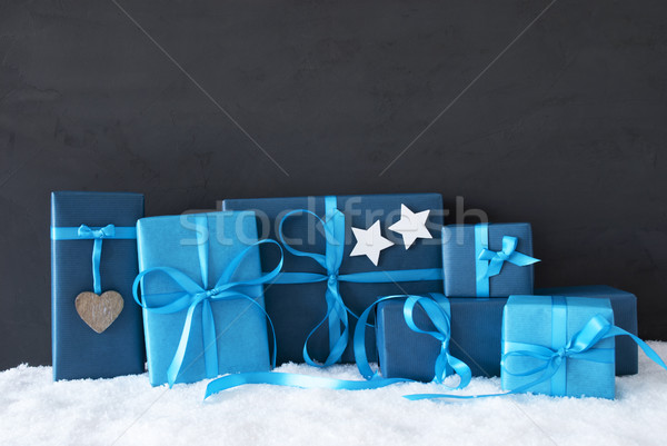 Blue Christmas Gifts, Black Cement Wall, Snow Stock photo © Nelosa